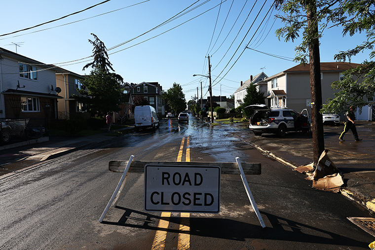 A closed road sign is seen on September 02, 2021 in Passaic, New Jersey.