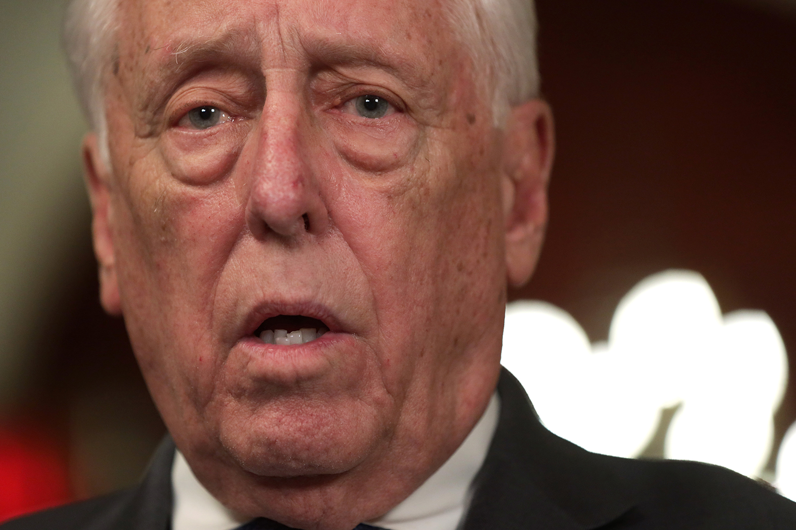 House Majority Leader Steny Hoyer speaks to members of the media on March 13, in Washington, DC.