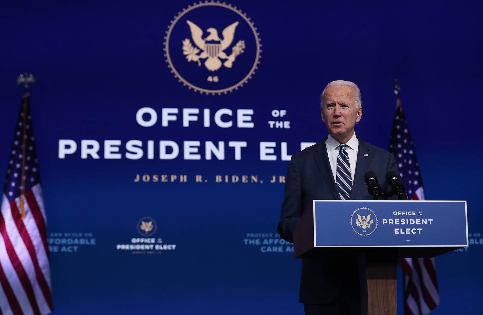 President-elect Joe Biden addresses the media about the Trump Administration's lawsuit to overturn the Affordable Care Act on November 10, at the Queen Theater in Wilmington, Delaware.