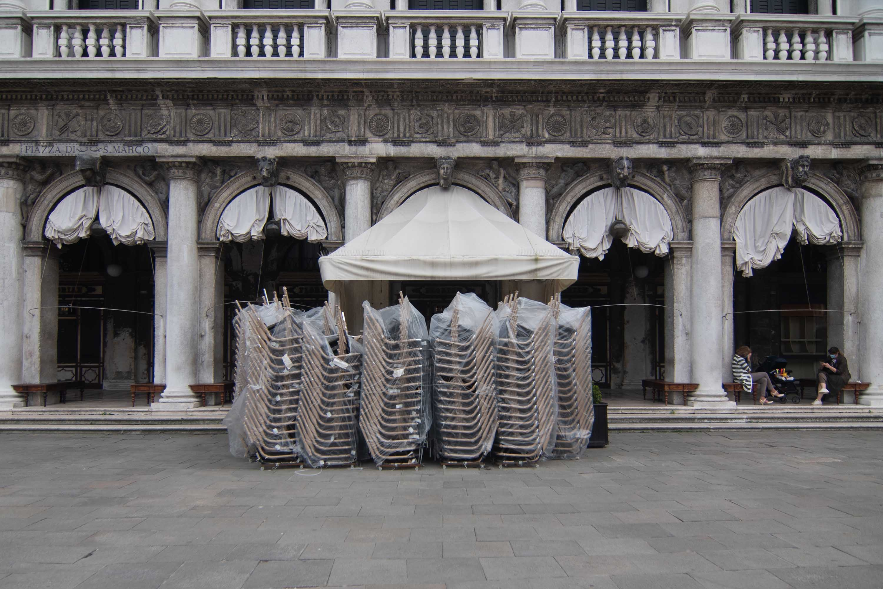 A closed cafe is pictured in St. Mark's Square in Venice, Italy, on May 18.