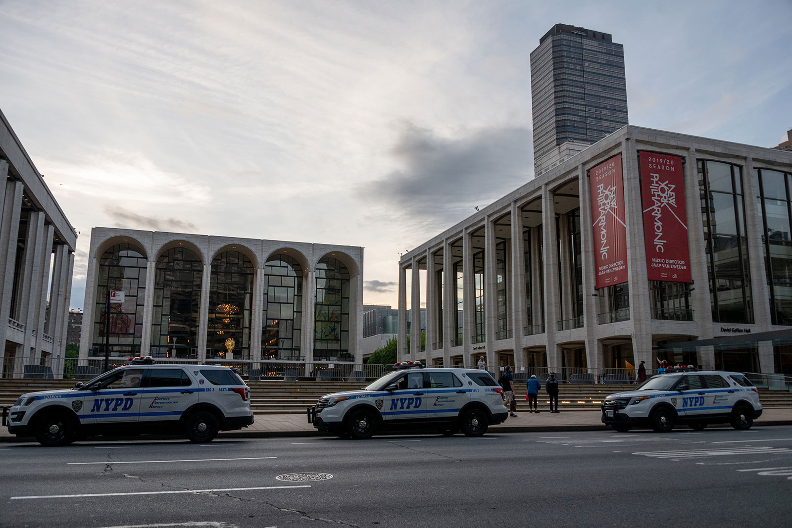 A banner advertising the New York Philharmonic hangs on the exterior of Lincoln Center in New York.