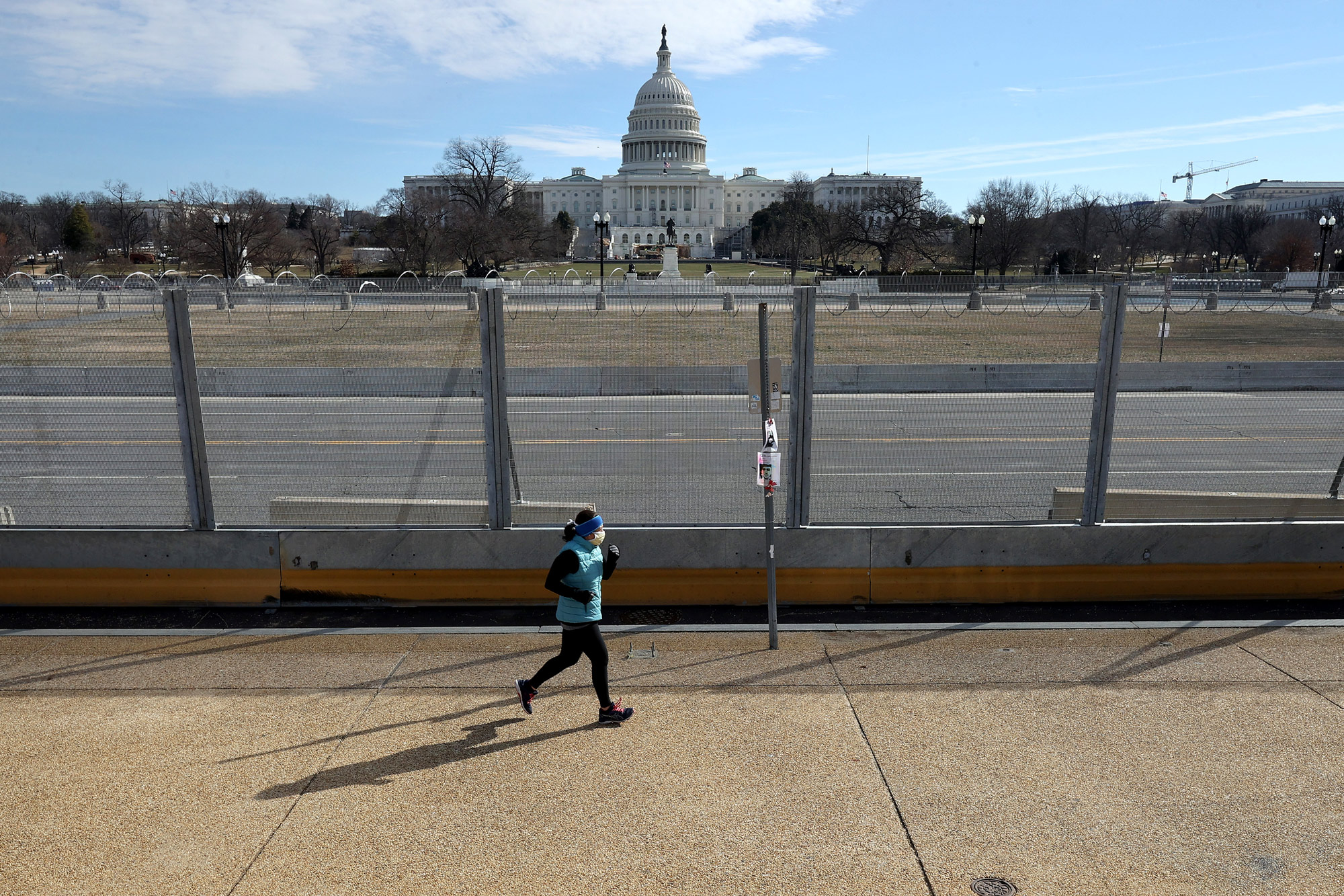 A temporary security fence surrounds the U.S. Capitol on February 17 in Washington, DC.