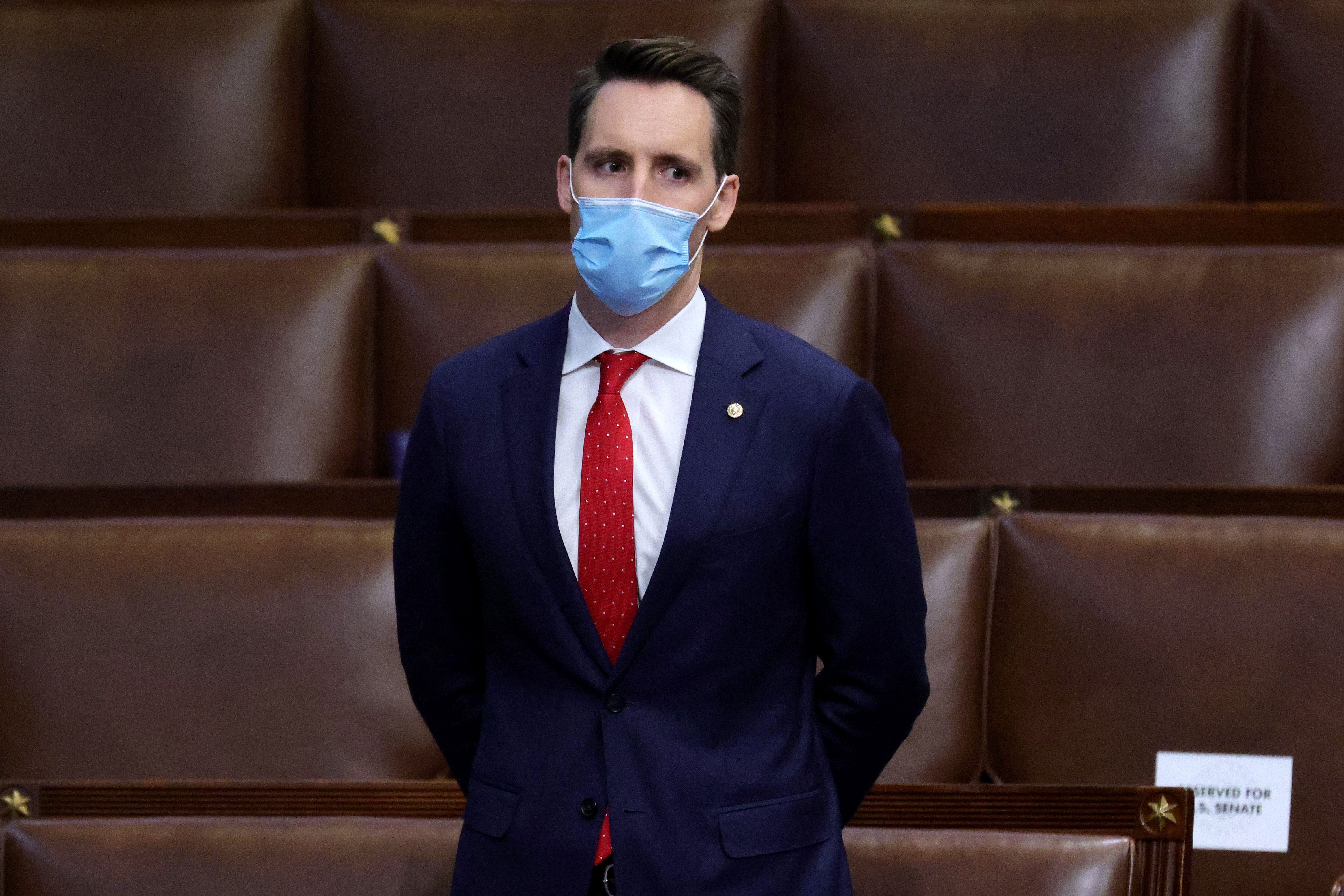 Missouri Sen. Josh Hawley stands in the House Chamber of the Capitol in Washington, DC, on January 6.