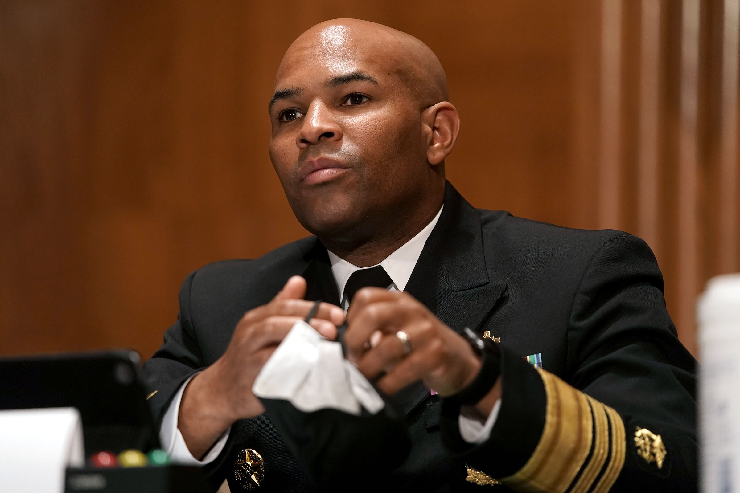 Surgeon General Jerome Adams attends a Senate Health, Education, Labor and Pensions Committee hearing on September 9 in Washington, DC.