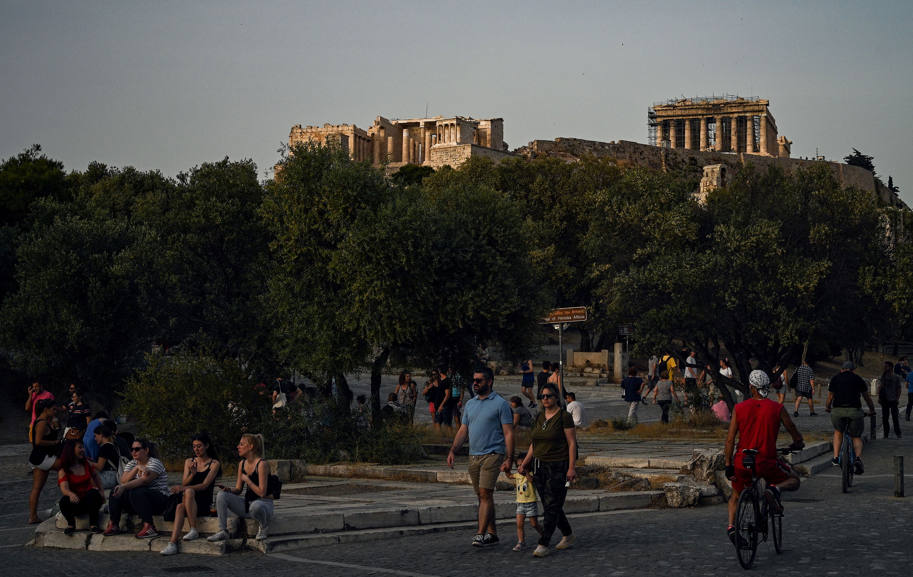 Acropolis hill is seen on May 17 in Athens, Greece.