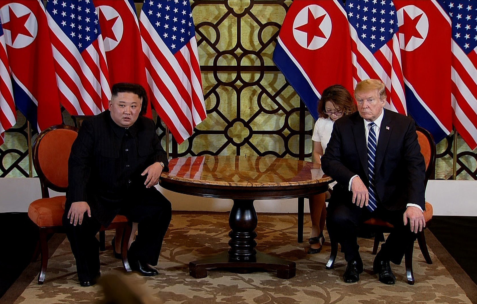 Kim and Trump during their second summit meeting at the Sofitel Legend Metropole hotel on February 28, 2019 in Hanoi, Vietnam.