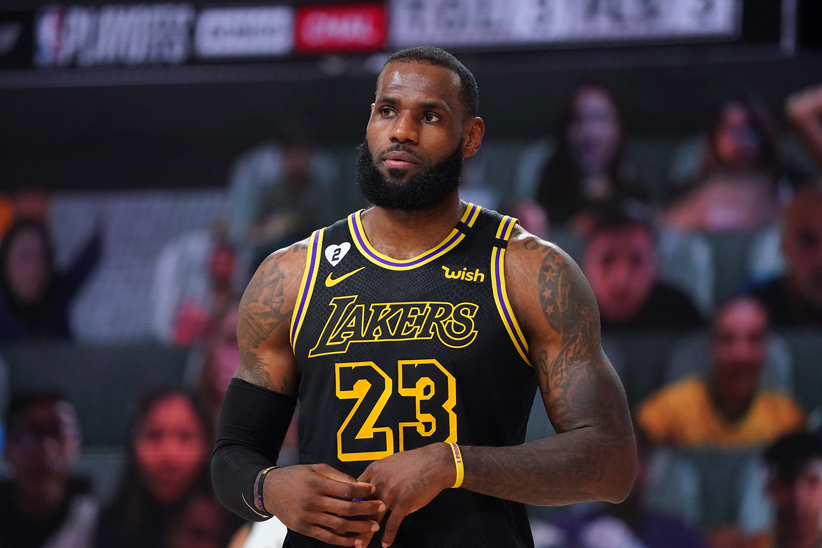 LeBron James of the Los Angeles Lakers looks on during a game against the Denver Nuggets during Game Two of the Western Conference Finals of the NBA Playoffs at AdventHealth Arena in Orlando, Florida, on September 20.