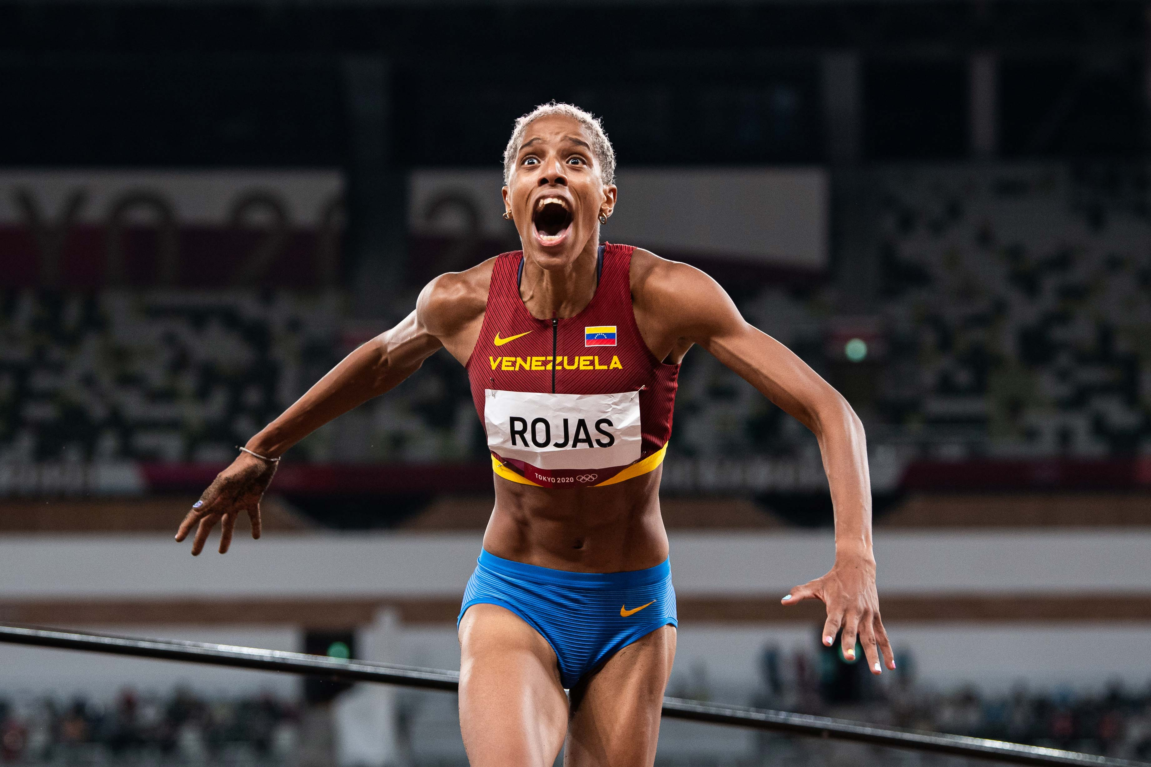 Yulimar Rojas of Venezuela celebrates after setting a new world in the triple jump final on August 1.