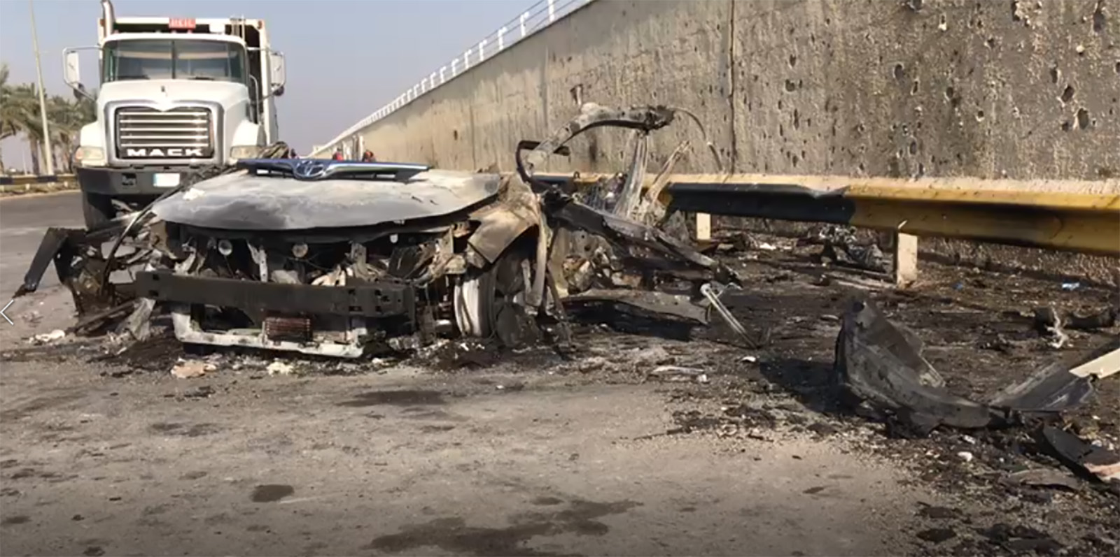The aftermath of the US drone strike at Baghdad International Airport. Credit: Obtained by CNN