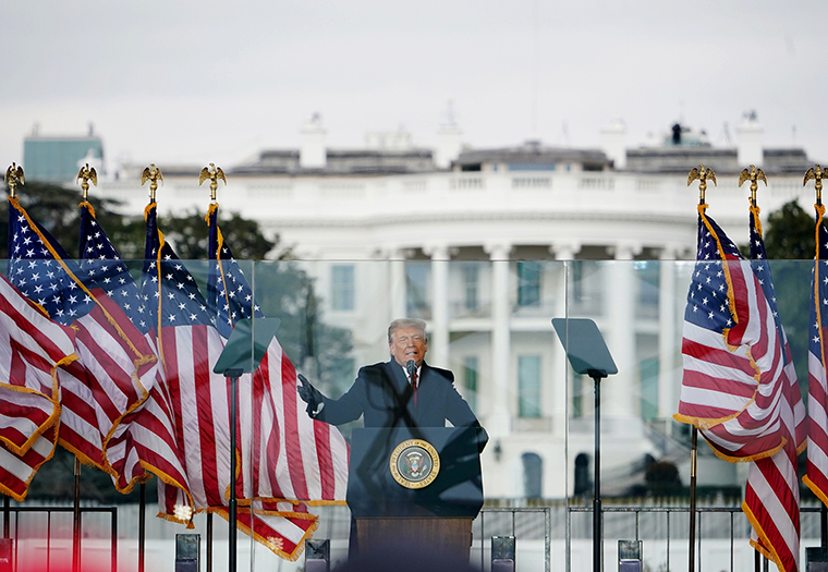 US President Donald Trump speaks to supporters from The Ellipse near the White House on Wednesday, January 6, in Washington, DC.