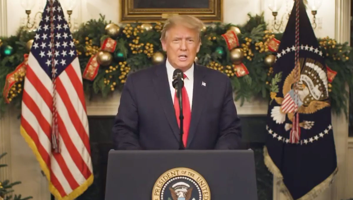 U.S. President Donald Trump appears on a video posted on his Twitter account on the evening of December 22.
