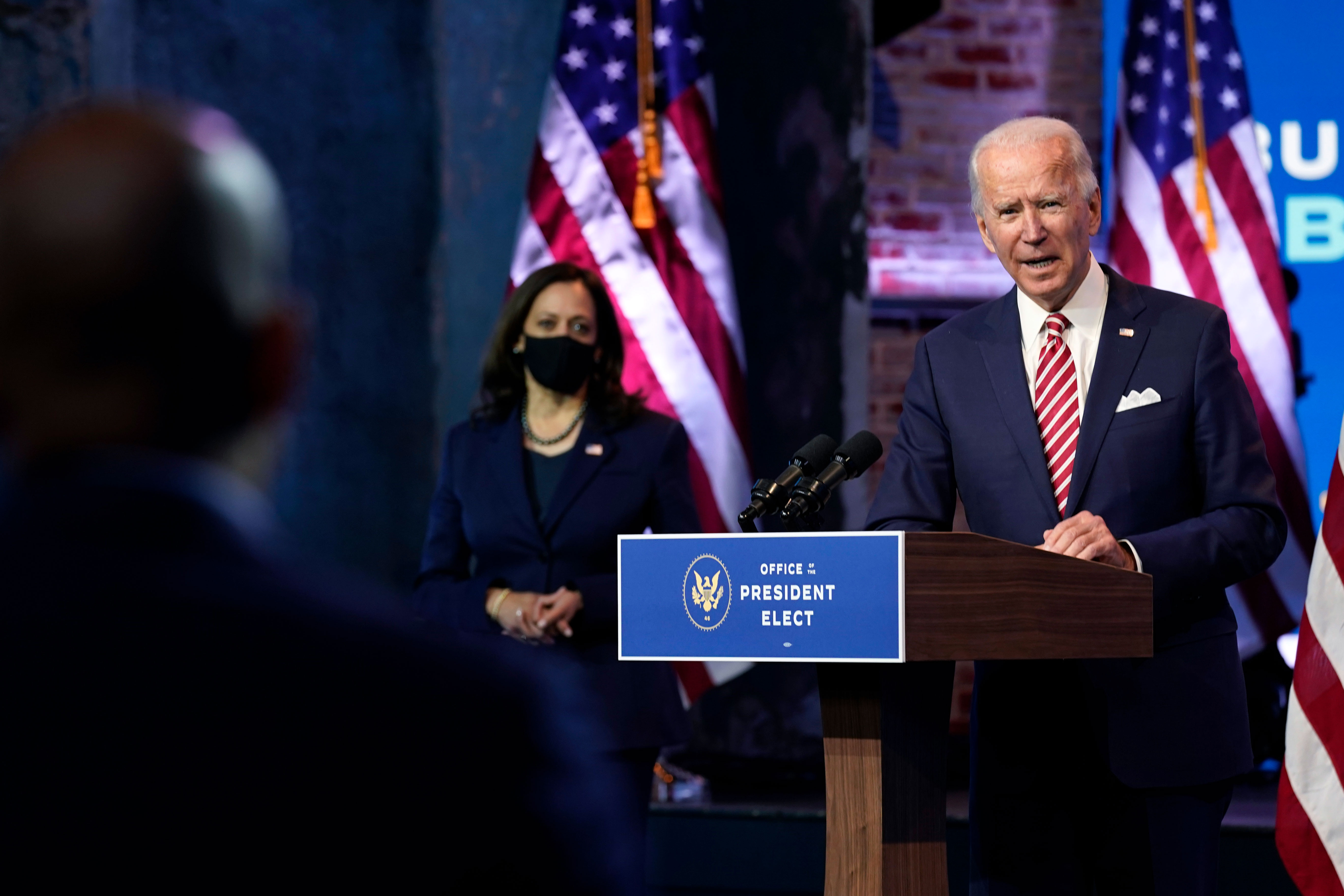 President-elect Joe Biden and Vice President-elect Kamala Harris hold a news conference on November 16 in Wilmington, Delaware.