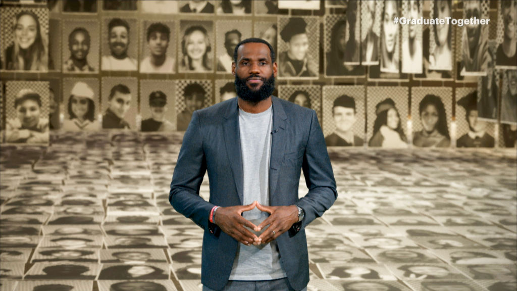 "LeBron James speaks during ""Graduate Together: America Honors the High School Class of 2020"" on May 16, 2020."
