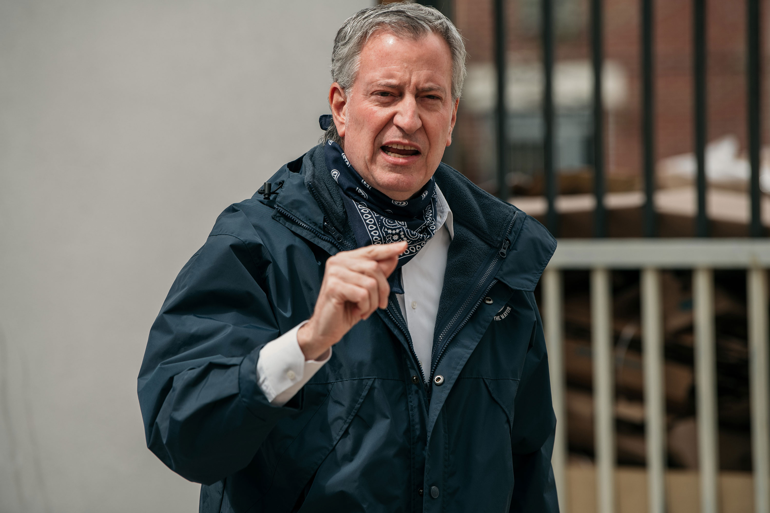 New York City Mayor Bill de Blasio speaks to the press in April.