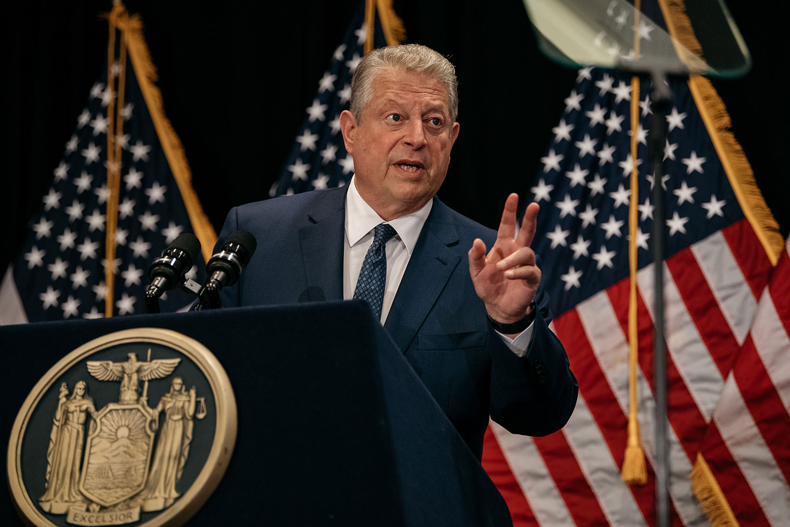 Former Vice President Al Gore delivers a speech on renewable energy in Manhattan in 2019.