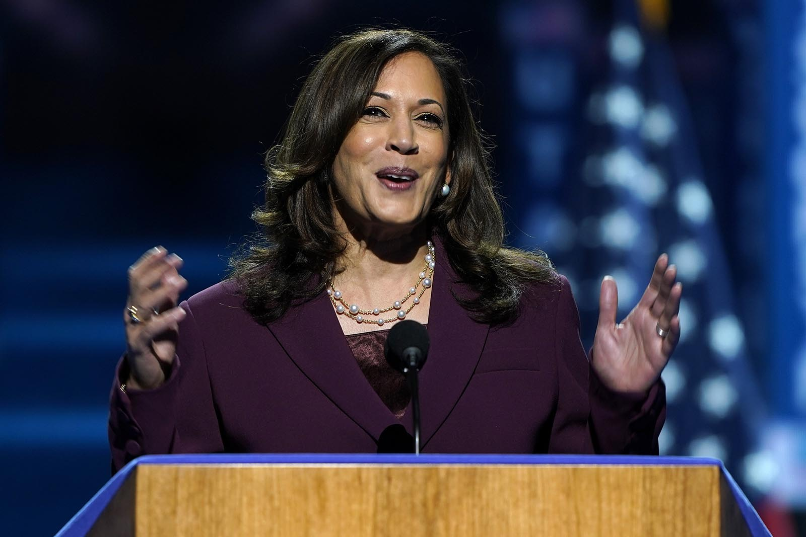 Democratic vice presidential candidate Sen. Kamala Harris, D-Calif., speaks during the third day of the Democratic National Convention, Wednesday, Aug. 19.