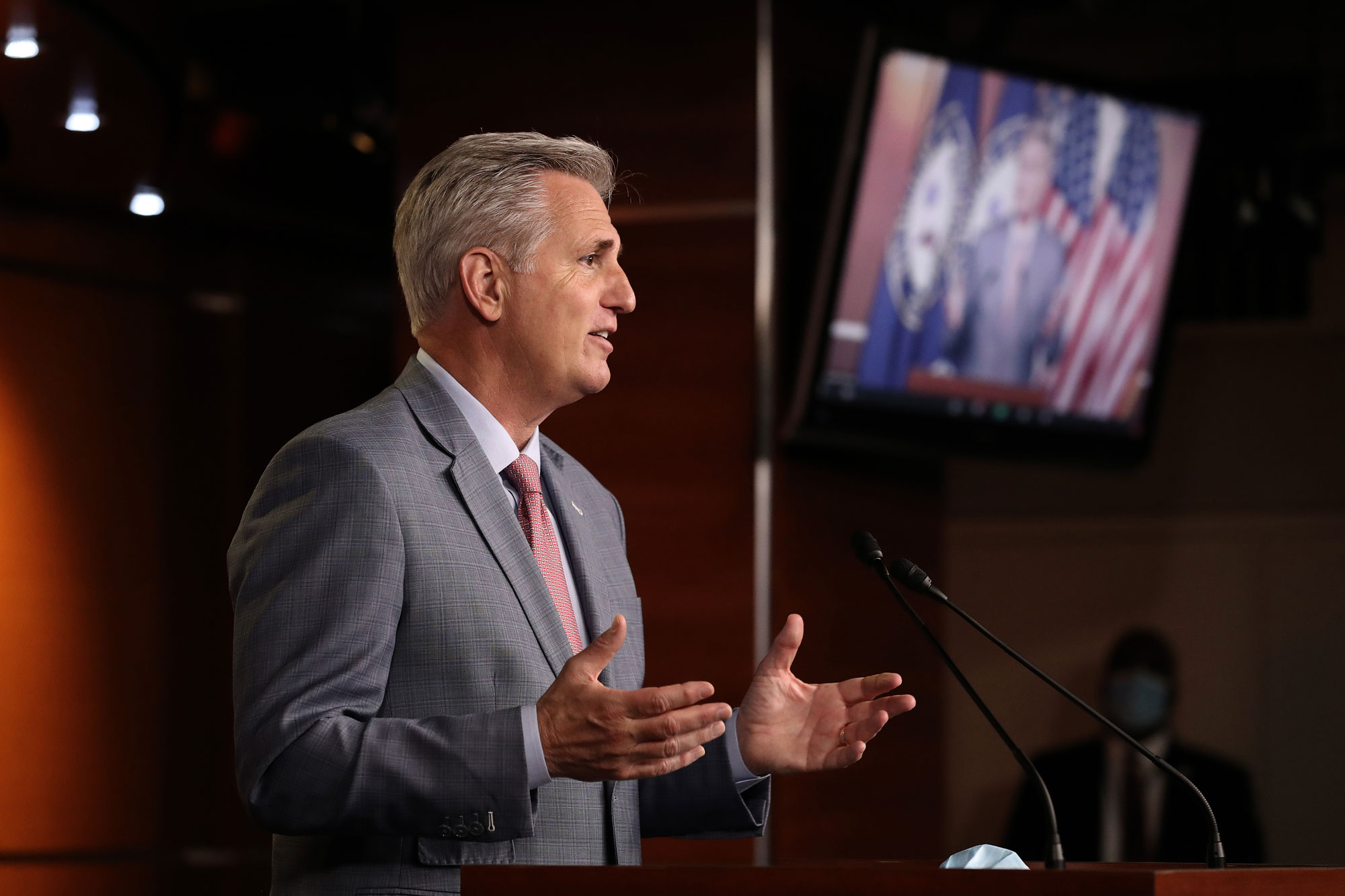 House Minority Leader Kevin McCarthy (R-CA) talks to reporters during a news conference at the U.S. Capitol on May 15 in Washington.