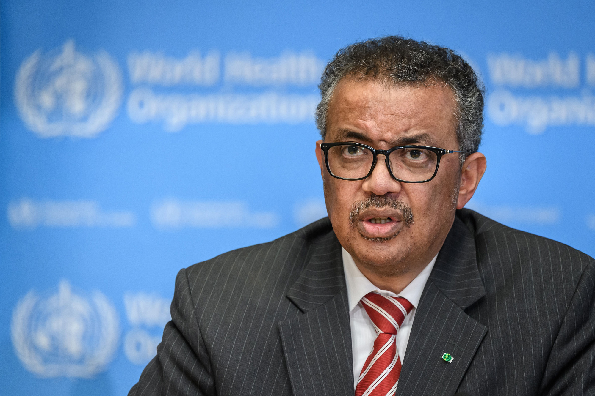 Director-General of the World Health Organization Tedros Adhanom Ghebreyesus attends a daily press briefing on COVID-19 virus at the WHO headquaters on March 11, 2020, in Geneva.