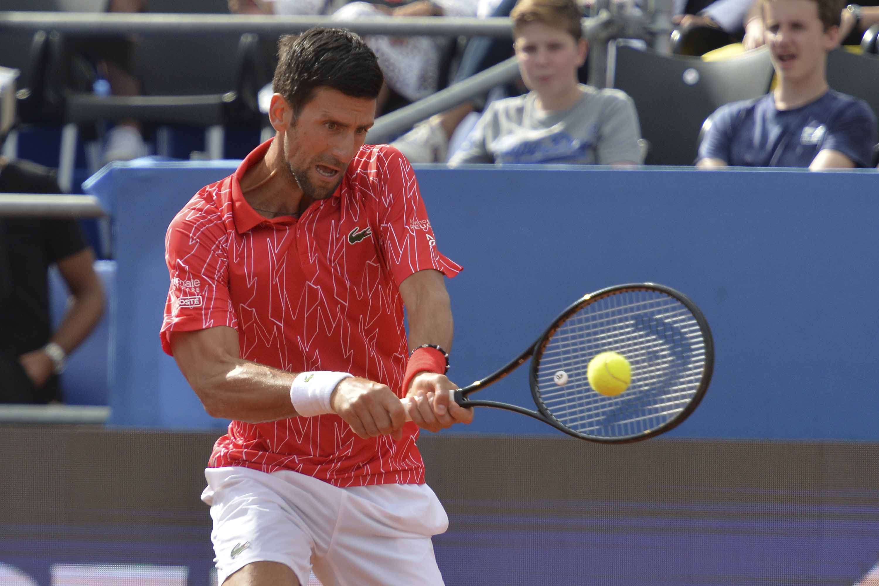Novak Djokovic returns the ball during an exhibition tournament in Zadar, Croatia, on Sunday, June 21.