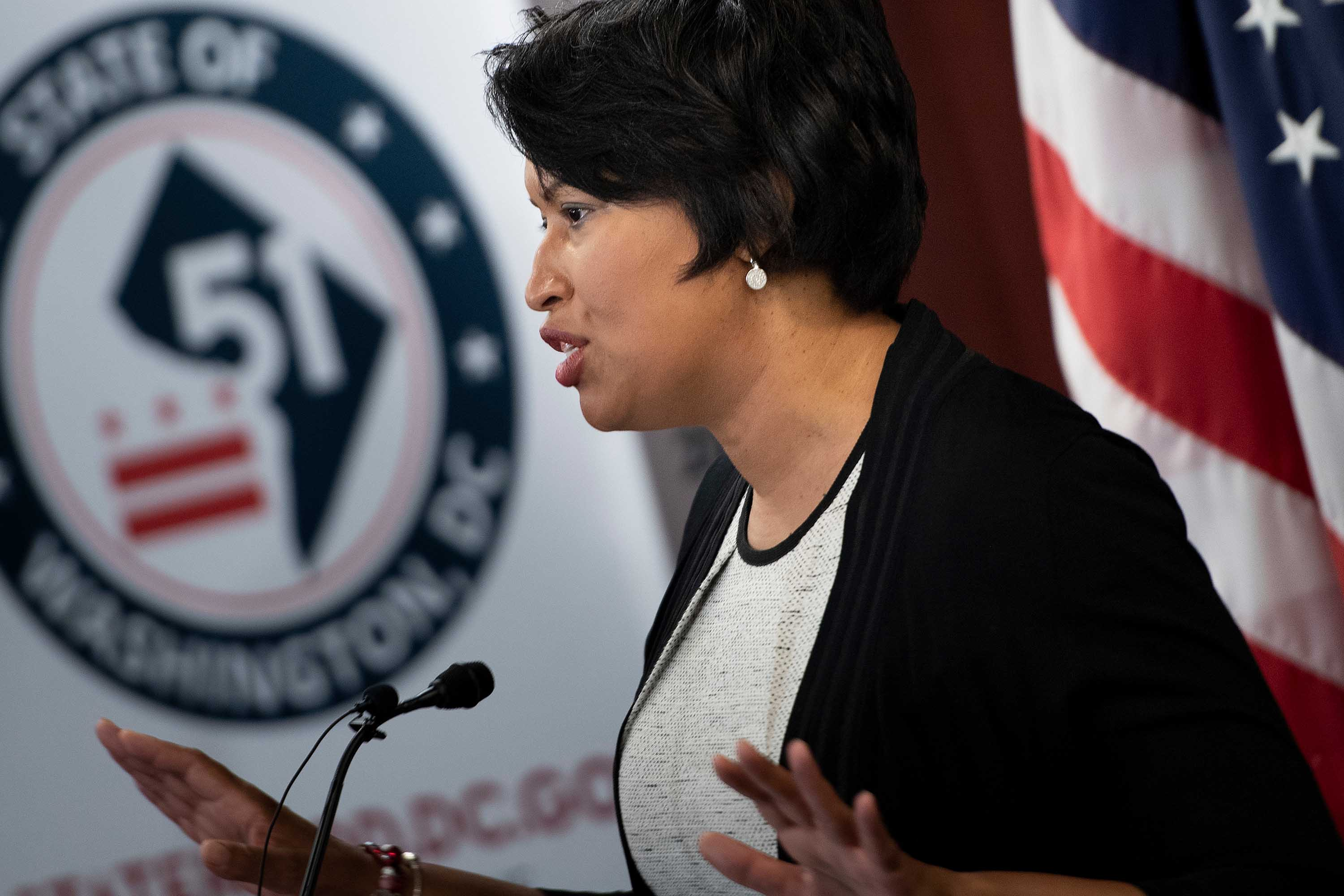 Washington, DC, Mayor Muriel Bowser speaks during a press conference on Capitol Hill in Washington, DC, on June 16.
