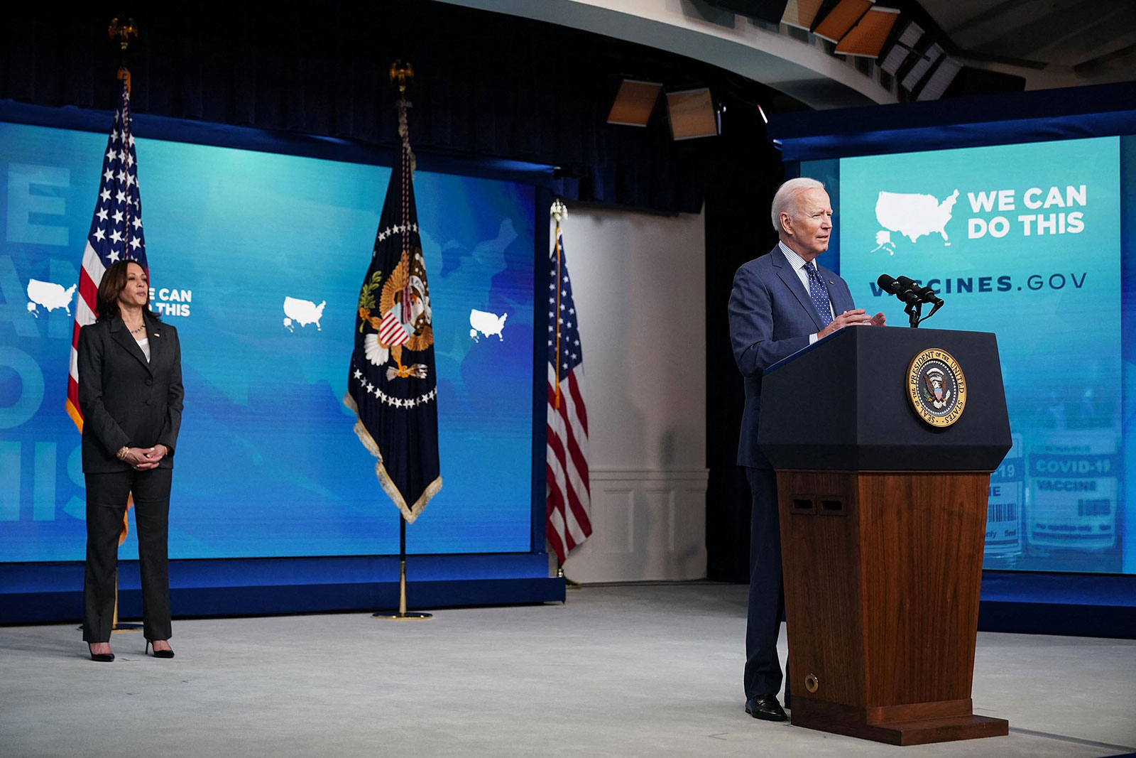 US President Joe Biden, with Vice President Kamala Harris, speaks on Covid-19 response and vaccinations in the South Court Auditorium of the Eisenhower Executive Office Building, next to the White House, in Washington, DC, on June 2.