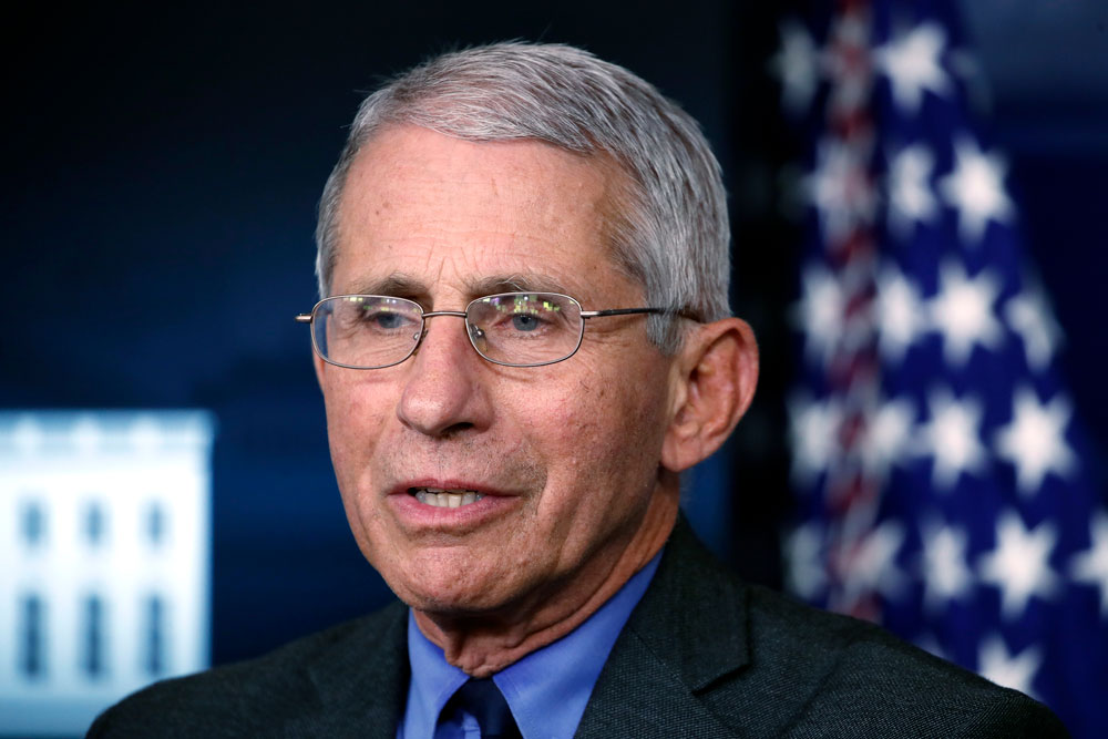 Dr. Anthony Fauci, director of the National Institute of Allergy and Infectious Diseases, speaks about the coronavirus in the James Brady Press Briefing Room at the White House in Washington on April 13.