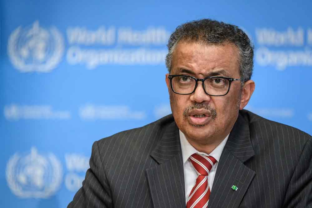 World Health Organization (WHO) Director-General Tedros Adhanom Ghebreyesus attends a daily press briefing on the coronavirus on March 11 in Geneva.