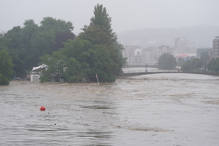 Flooding in Liege after heavy rainfall, Thursday, July 15.