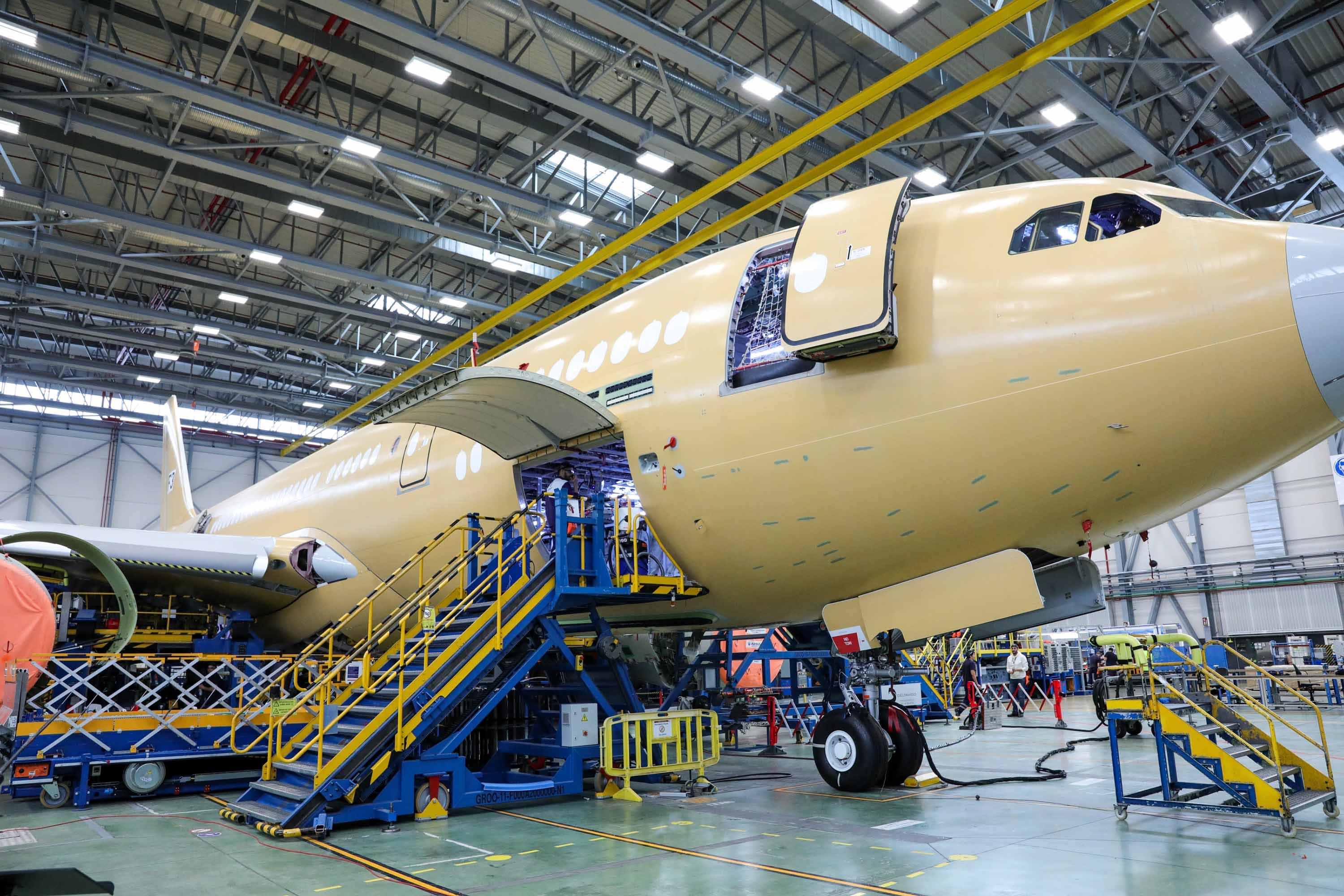 Maintenance work is carried out on an Airbus aircraft at a plant near Madrid, Spain, in November 2019.