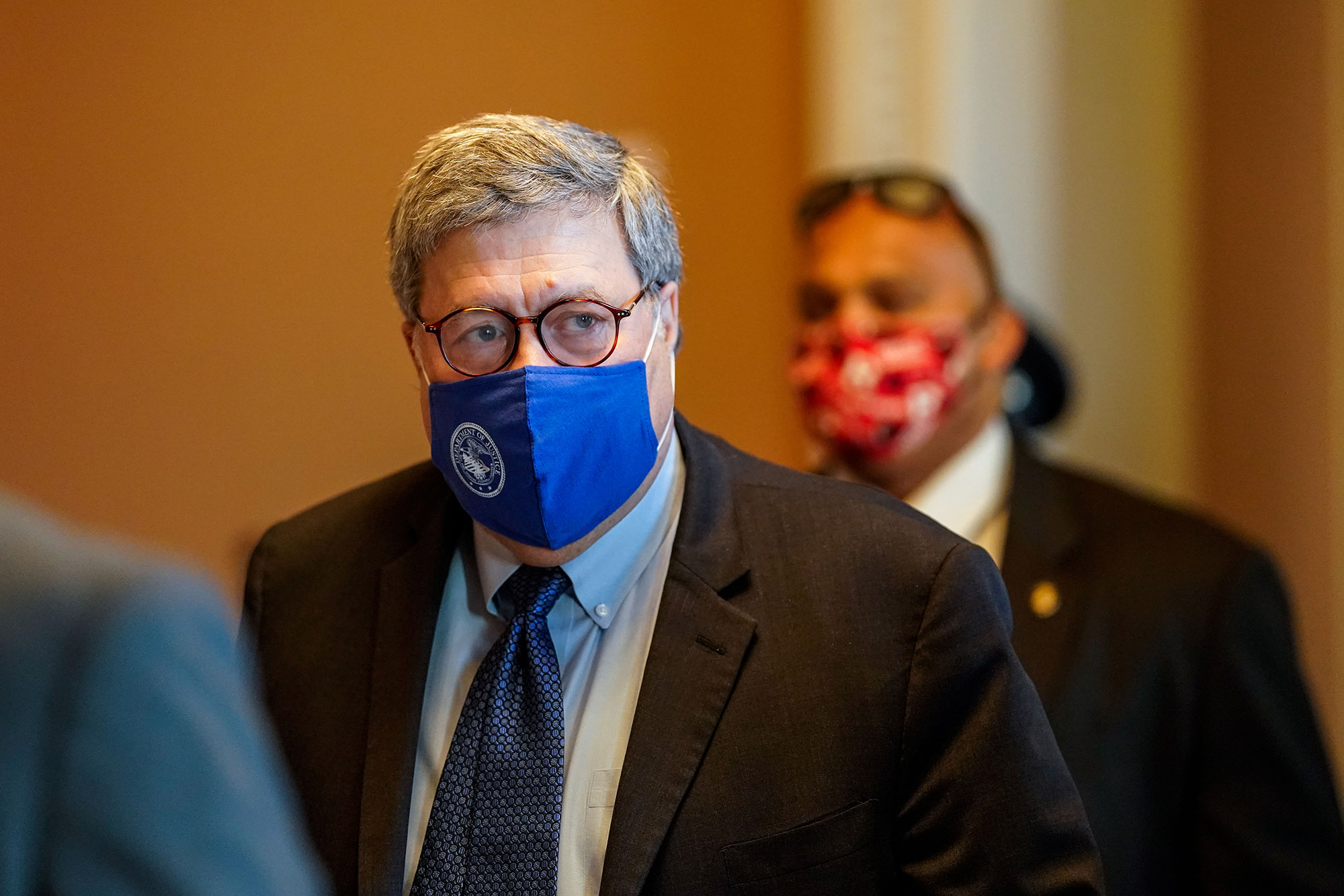 U.S. Attorney General William Barr exits the U.S. Capitol Building on Monday, November 9, in Washington, DC.