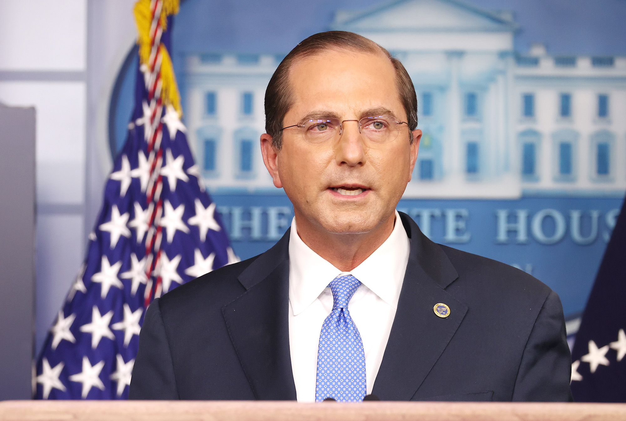 United States Secretary of Health and Human Services Alex Azar speaks to the press in the James Brady Press Briefing Room at the White House on November 20, in Washington, DC.