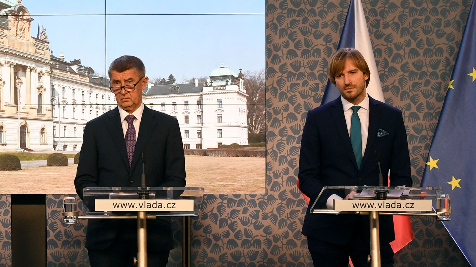 Czech Prime Minister Andrej Babis and Health Minister Adam Vojtech speak at a press conference after a meeting of the Government Security Council in Prague on Monday.