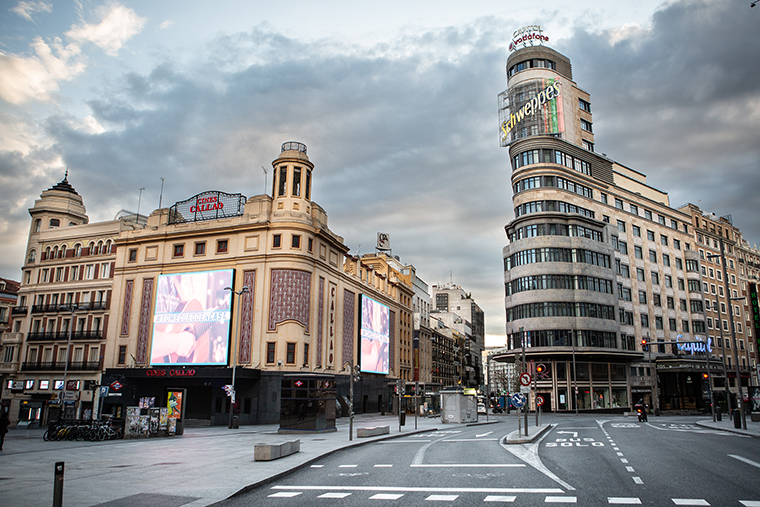 Madrid's Gran Via street is seen empty of pedestrians on Thursday, April 16.