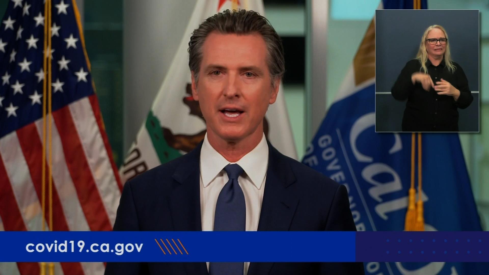 California Gov. Gavin Newsom speaks during a press conference on July 1.
