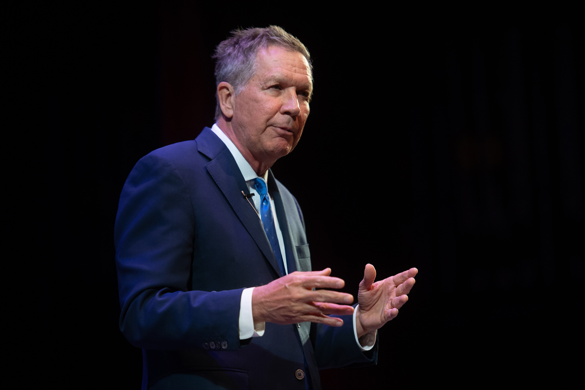 Former Ohio Governor John Kasich speaks at Molloy College in Rockville Centre, New York on April 10, 2019.