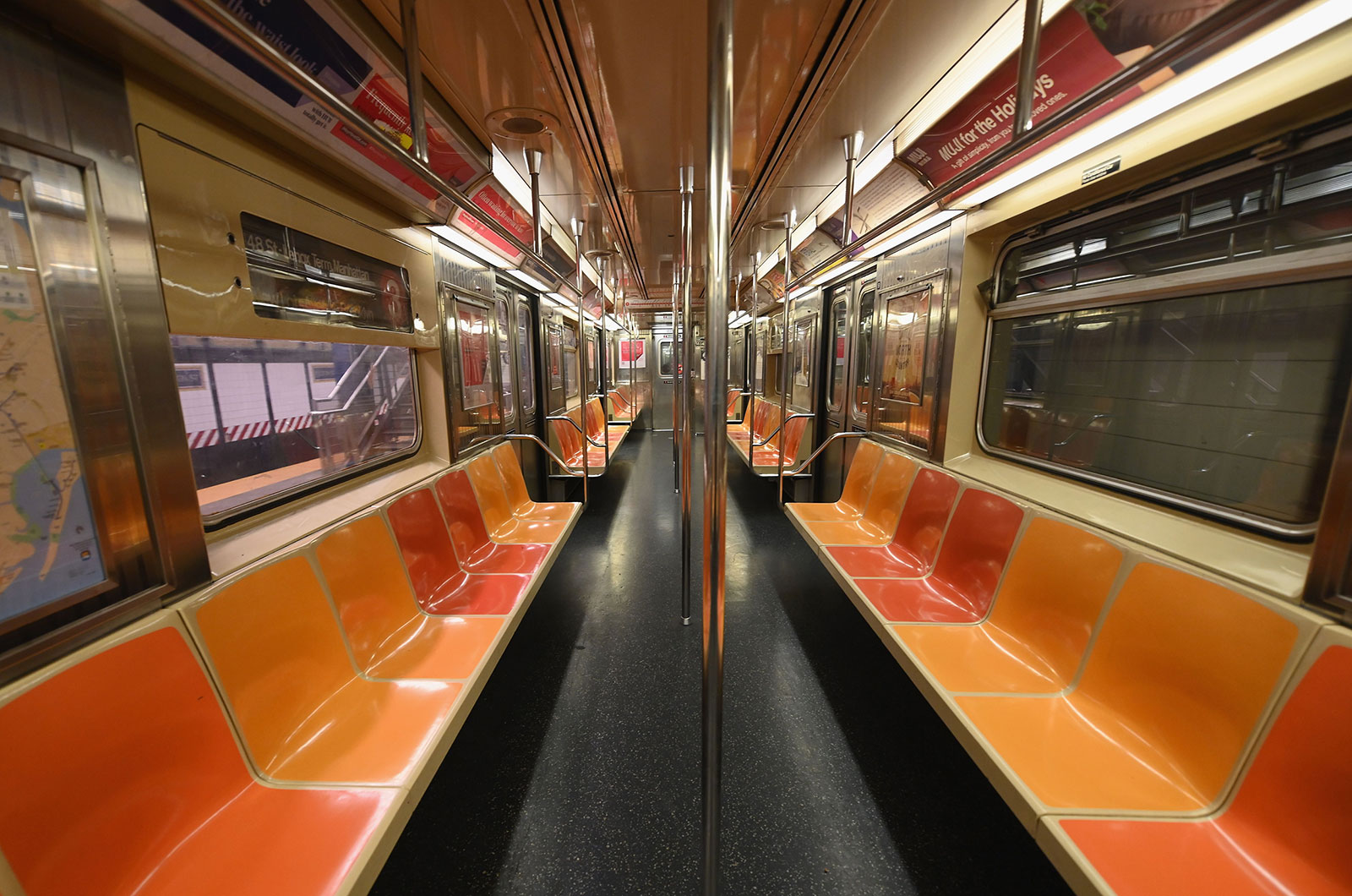 An empty New York City subway car.