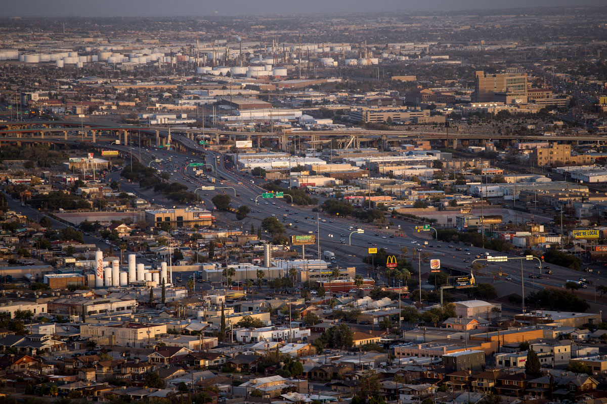 Vehicles travel along Interstate 10 highway in El Paso, Texas on November 9.