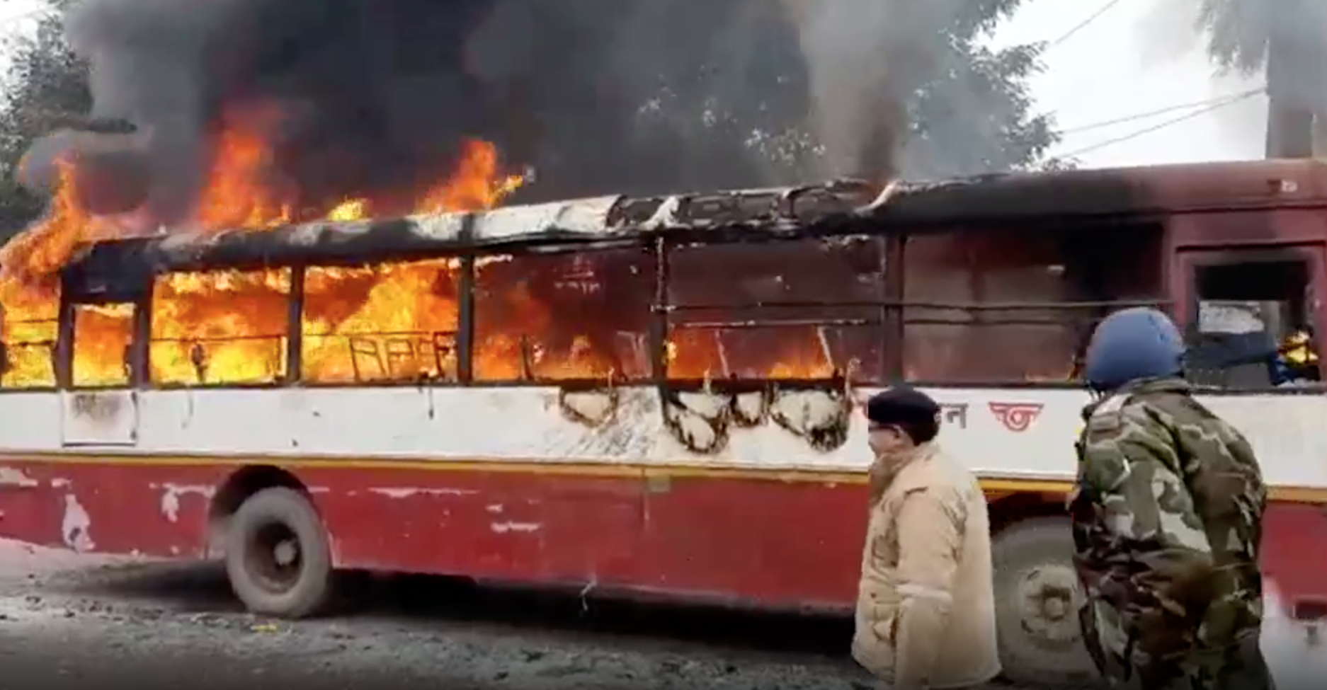 A bus burns in Sambhal, a city in Uttar Pradesh.