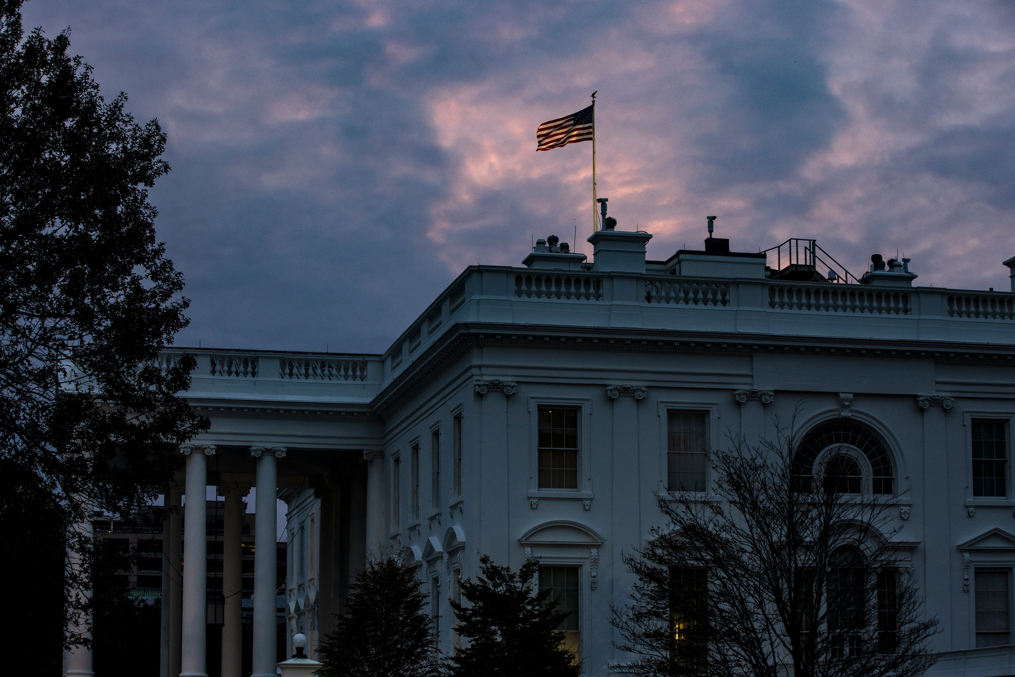 The sun rises over the White House on November 1 in Washington, DC.