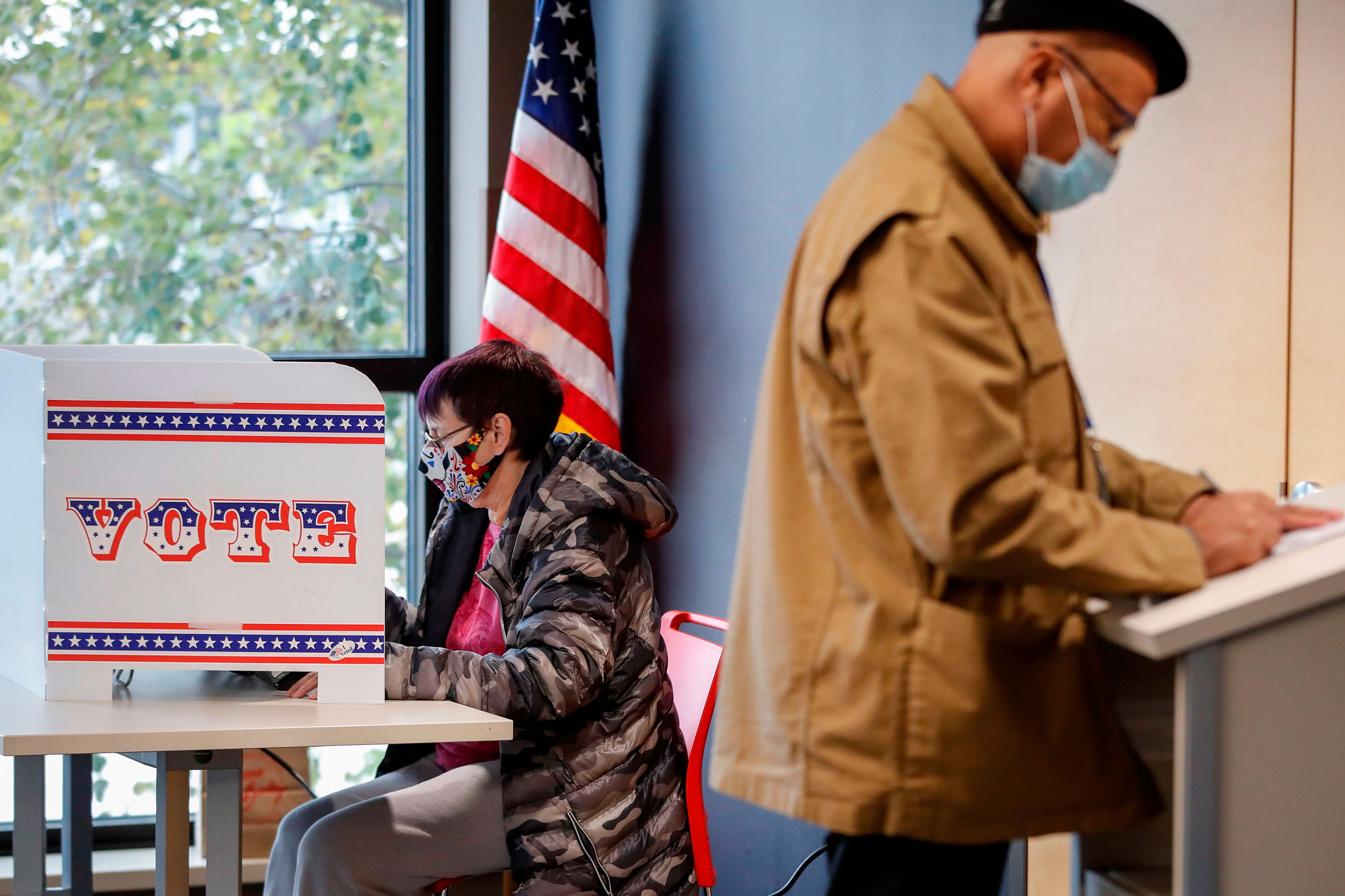 People cast their ballots in Milwaukee, Wisconsin, on October 20.