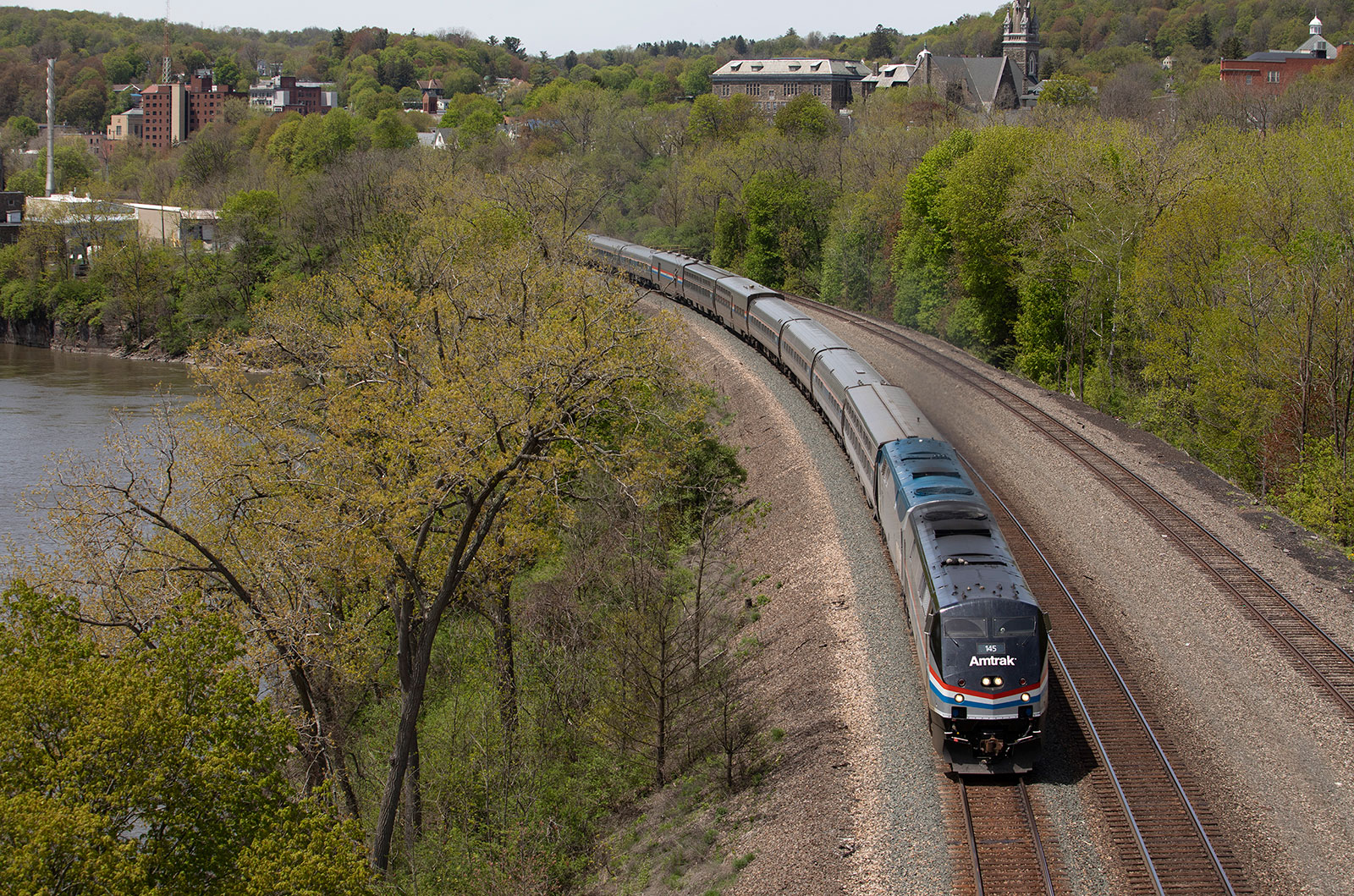 An Amtrak train heads through Little Falls, New York, on May 19.
