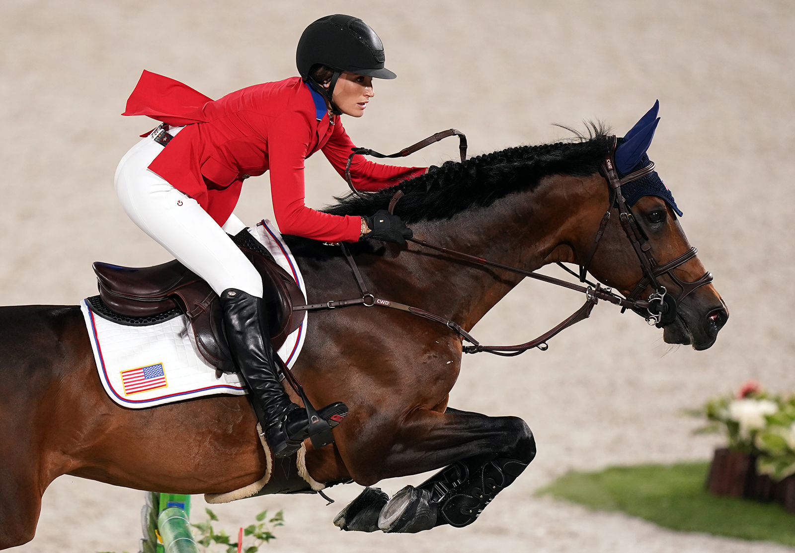Jessica Springsteen of Team USA rides horse Don Juan Van De Donkhoeve during the Jumping Team Final at the Equestrian Park on the fifteenth day of the Tokyo 2020 Olympic Games on August 7, in Tokyo.