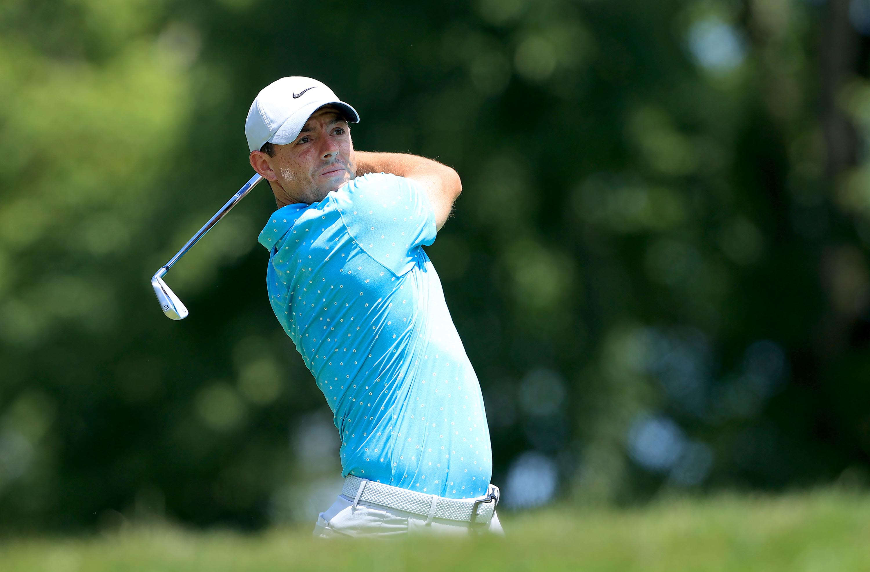 Rory McIlroy of Northern Ireland plays his shot from the fourth tee during the third round of The Memorial Tournament at Muirfield Village Golf Club in Dublin, Ohio, on July 18.