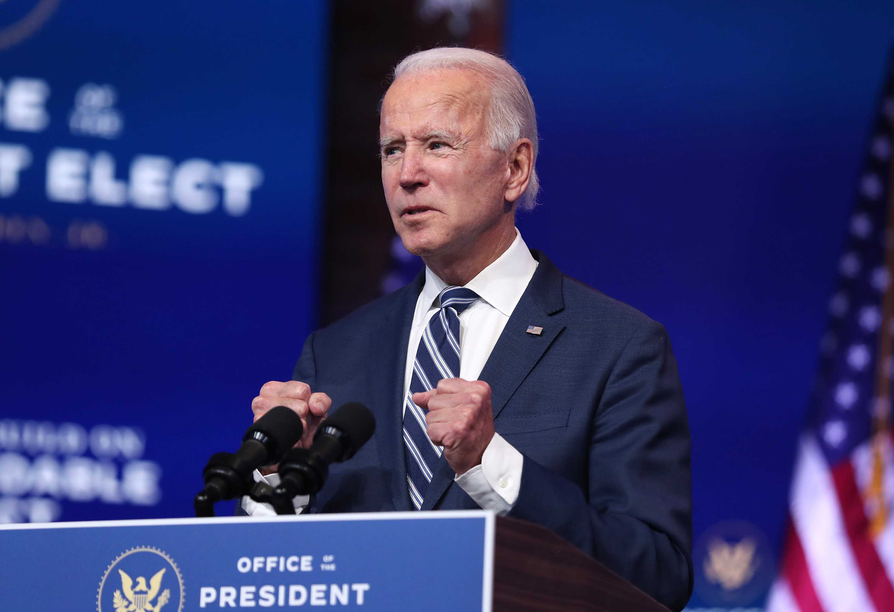 U.S. President-elect Joe Biden addresses the media about the Trump Administration's lawsuit to overturn the Affordable Care Act on November 10, at The Queen theater in Wilmington, Delaware.
