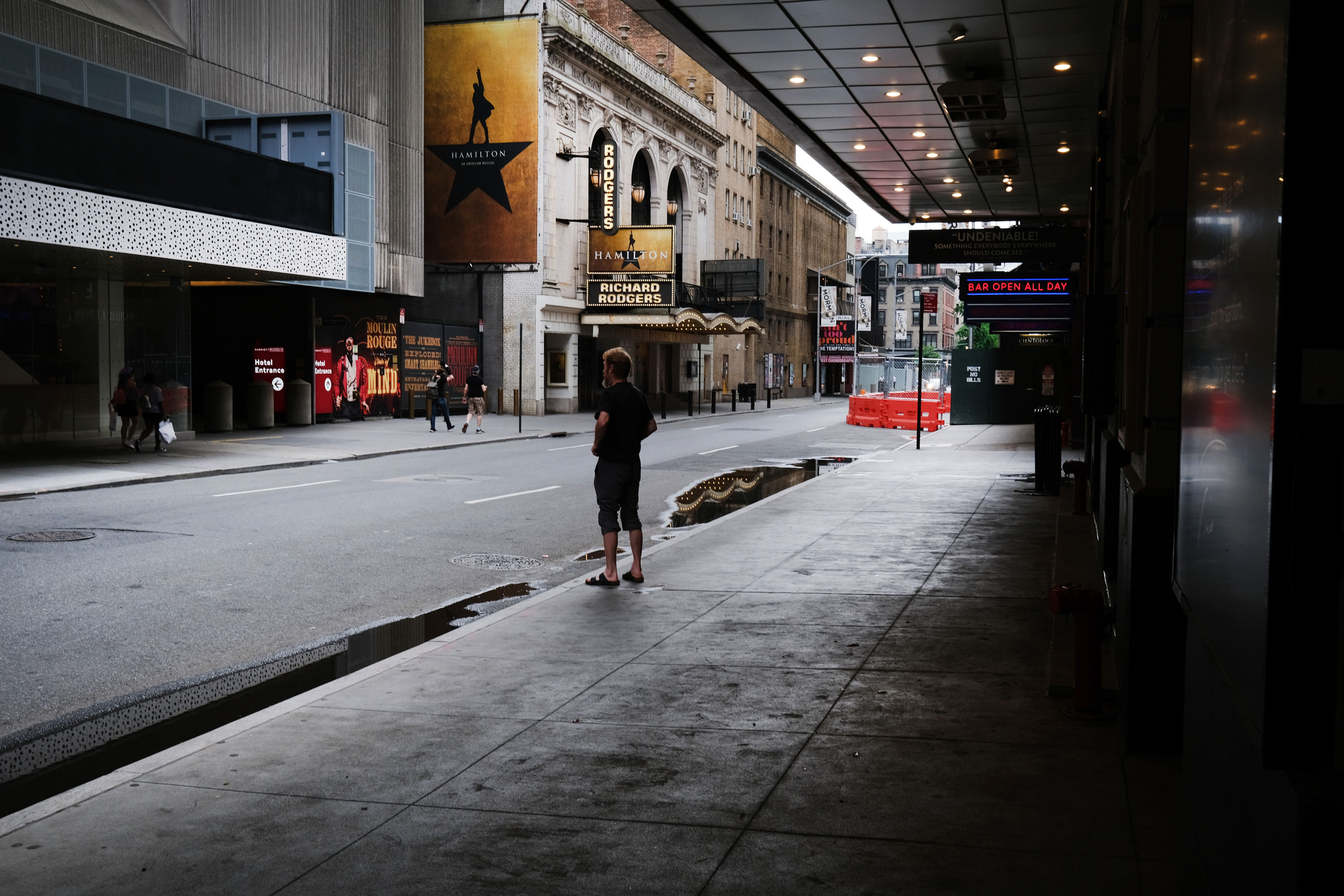 Broadway theaters stand closed in the theater district on June 30, 2020, in New York City.