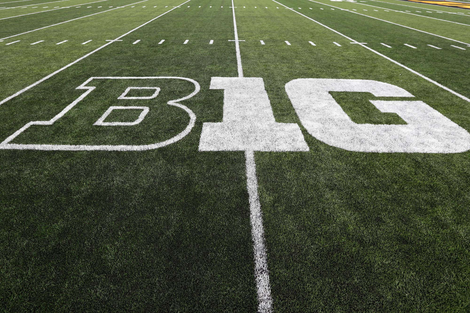 The Big Ten logo is displayed on the field before an NCAA college football game in Iowa City, Iowa, on August 31, 2019.