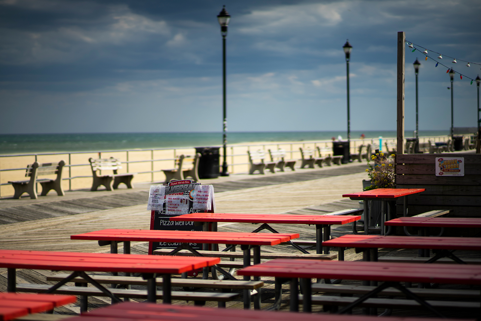 Empty tables are seen at this restaurant in the Jersey Shore in New Jersey, on May 4.