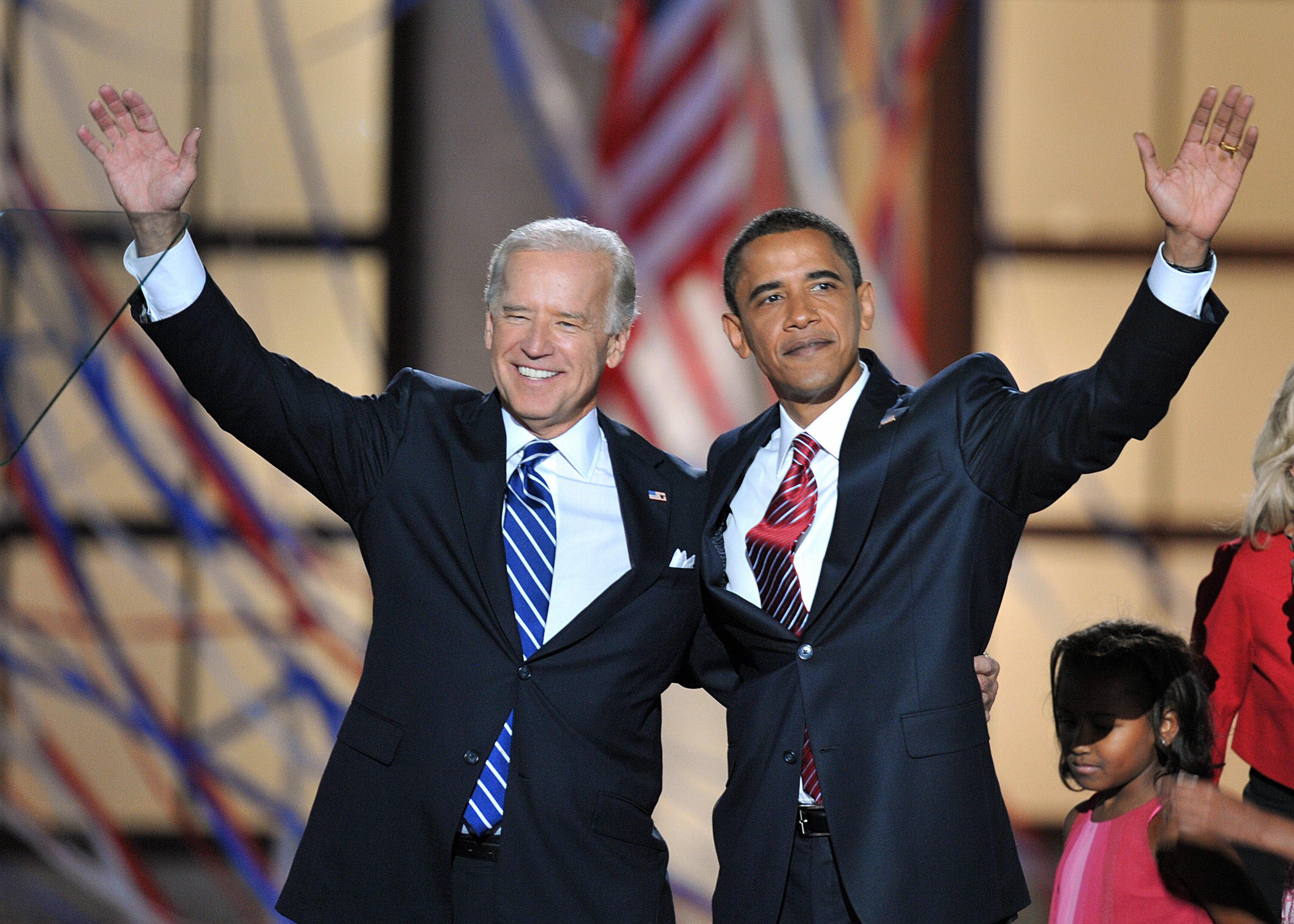 Then-Democratic Presidential candidate Barack Obama and then-Vice Presidential candidate Joe Biden appear on stage at the end of the Democratic National Convention in Denver, Colorado, in August 2008.