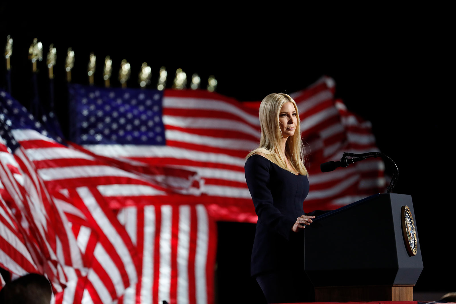 Ivanka Trump speaks from the White House South Lawn during the Republican National Convention on August 27.