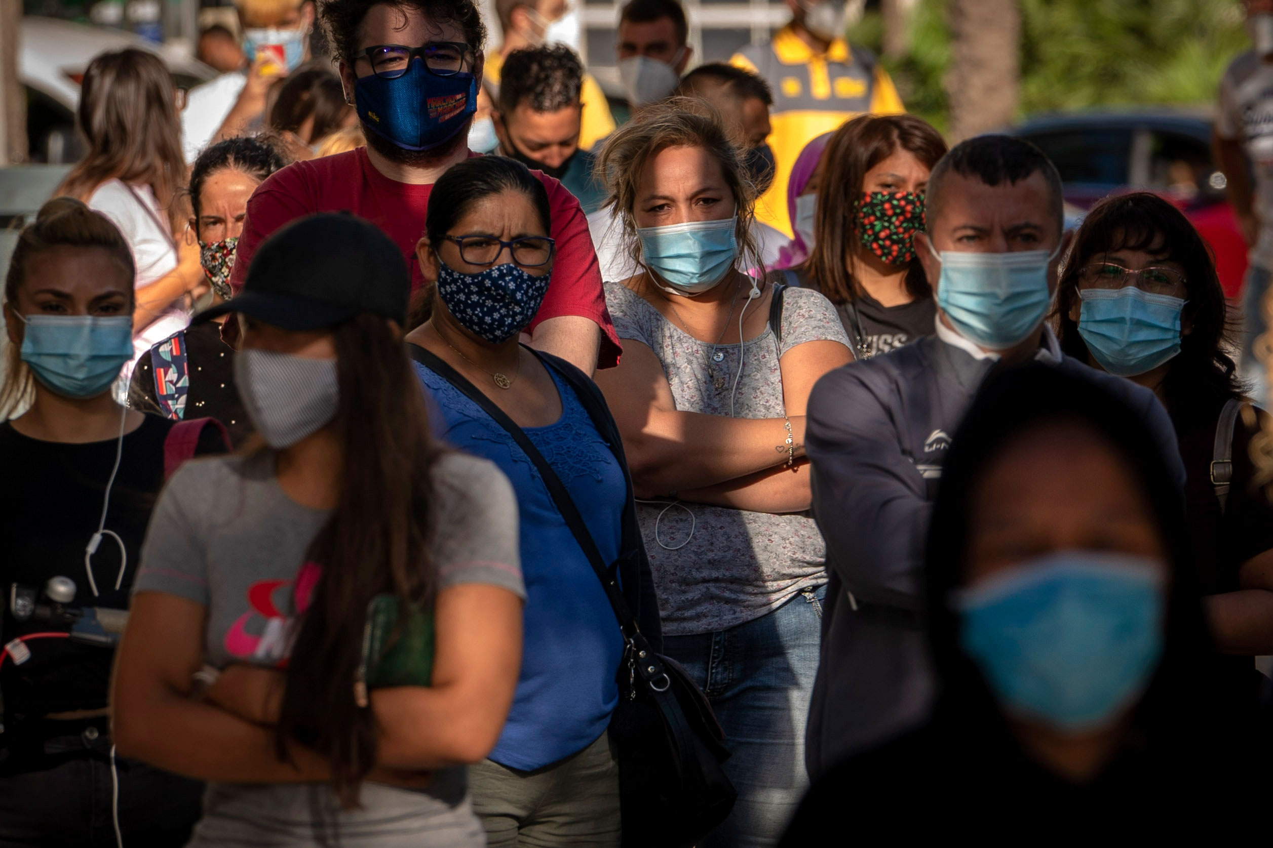 People in Barcelona, Spain, wait to be tested for Covid-19 on August 31.